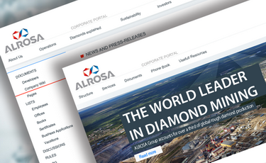 Corporate portal for diamond mining company