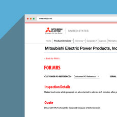 RMA portal for Mitsubishi Electric Power Products